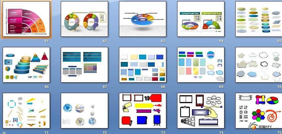 很实用的图形图标集 108页 海量 PPT图表 Powered by Discuz