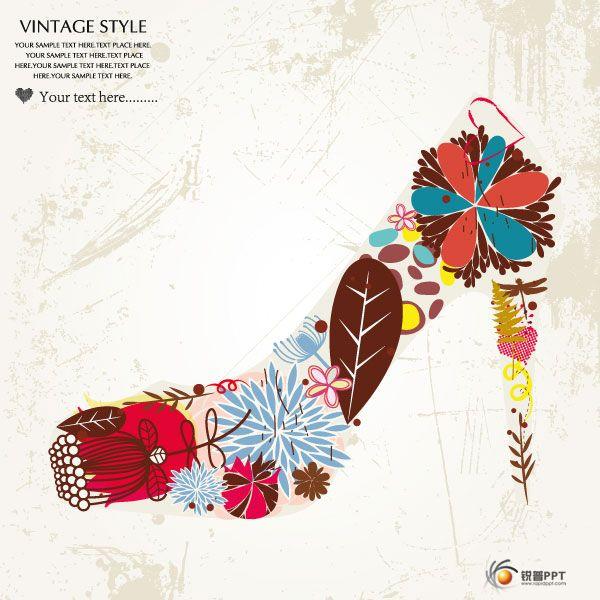 时尚花纹高跟鞋纹样矢量素材和时尚潮流鞋子插画矢量素材