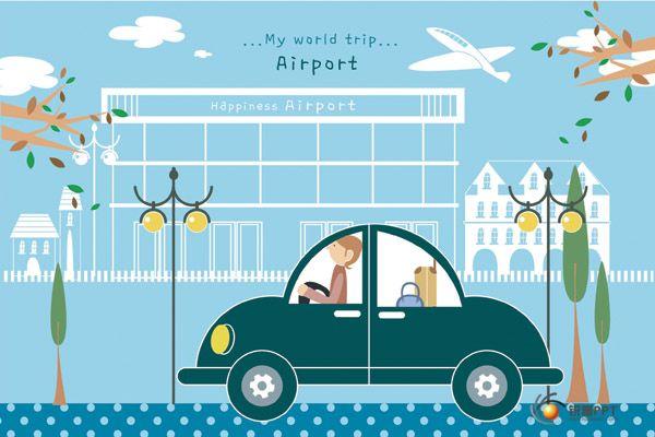 可爱旅行插画素材 - 图片素材