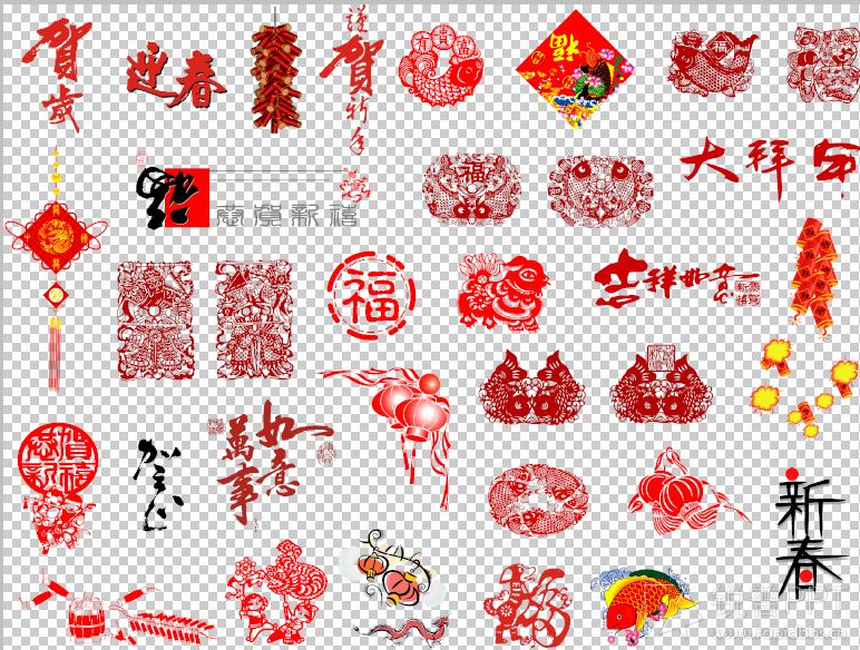 【小龙】春节喜庆元素矢量图
