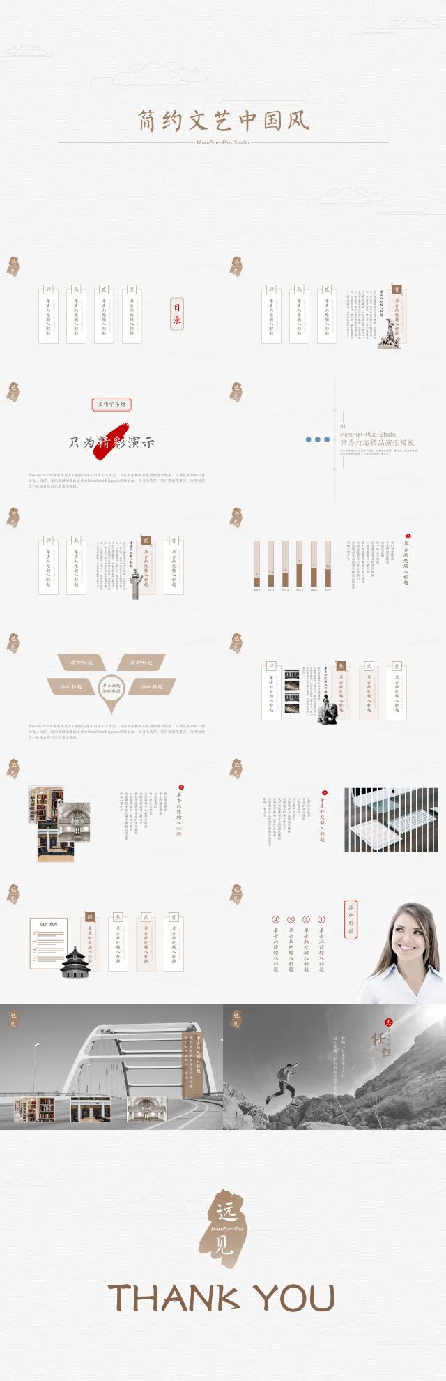 『PPT』简约素雅风格工作总结模板