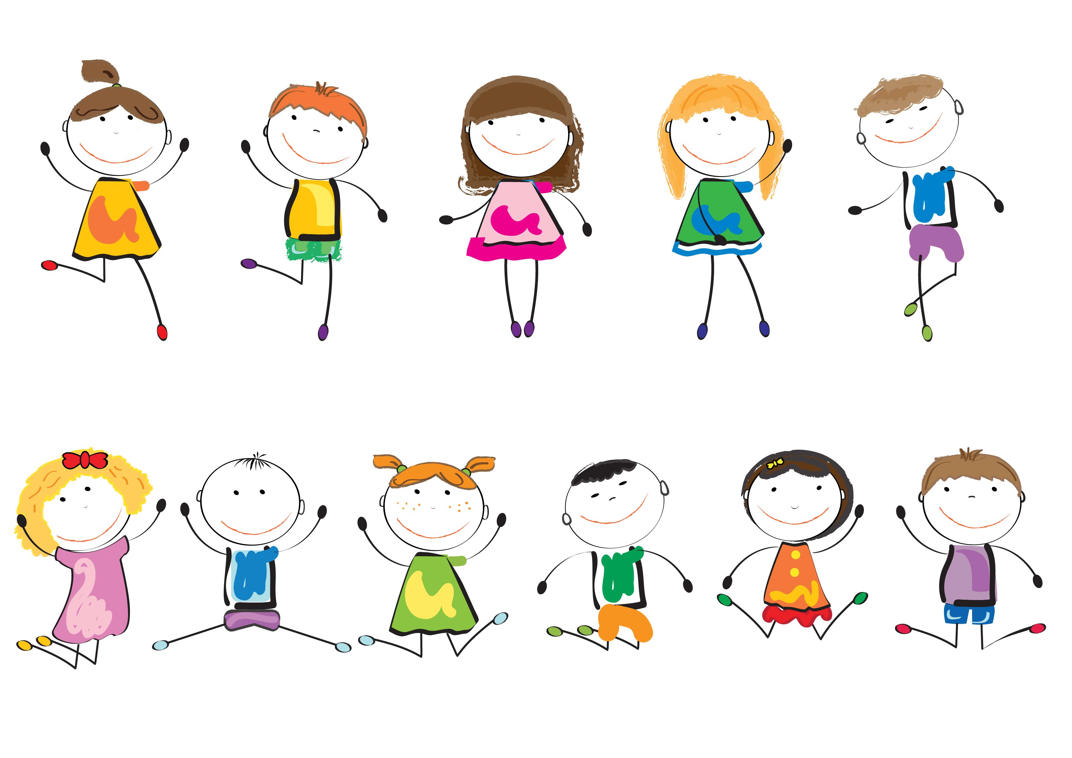 多动作,多表情,活泼可爱的手绘卡通人物