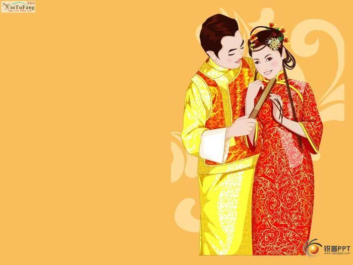 中国传统婚礼请柬背景图片素材